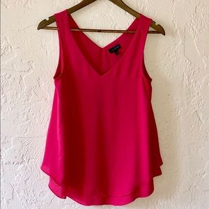 The Limited Hot Pink V Neck Flowy Tank Blouse